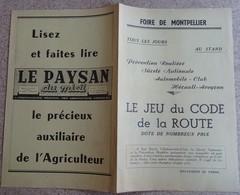 Pub Ancienne (année 60) Foire De Montpellier - Le Jeu Du Code De La Route Automobile Club Hérault Aveyron - Publicités
