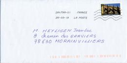 """2019 : Timbre Postal Adhésif """"Touristique, Cathédrale Notre-Dame, Strasbourg"""" Seul Sur Lettre - Marcophilie (Lettres)"""