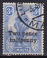 MALTA 1925 Overprint Two Pence Halfpenny On Malta & Britannia 3 P Ultramarine Mi. 97 - Malta