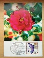 Carte Biponta 1989, Allemagne Fédérale, Rose, Fleur, Pigeon Messager - Roses