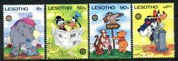 Lesotho 1985 150th Birth Anniversary Of Mark Twain - Walt Disney - Set Used (SG 667-670) - Lesotho (1966-...)