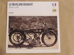 LA FRANCAISE-DIAMANT 250 Cm3 France 1925 Moto Fiche Descriptive Motocyclette Motos Motorcycle Moto Motocyclette - Fiches Illustrées