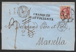 1860 Envuelta 12 Cuartos Ed.53 A Francia - Franqueo Insuficiente / LAC 12Cu A Marseille Ambulant Espagne-Perthus - 1850-68 Königreich: Isabella II.