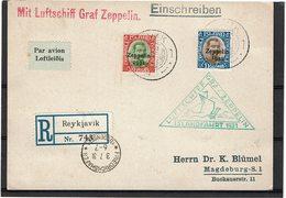 LMON3 - ISLANDE LES 2 TPM SUR CARTE COMMEMORATIVE ZEPPELIN 30/6/1931 - Poste Aérienne