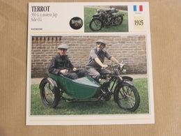 TERROT 350 G Side Car CG France 1925 Moto Fiche Descriptive Motocyclette Motos Motorcycle Moto Motocyclette - Geïllustreerde Kaarten