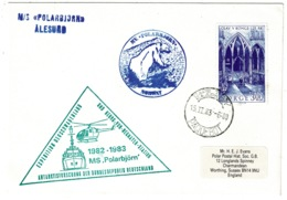 Ref 1281 - 1983 Antarctic Cover - M/S Polar Bjorn Triangle Cachet Norway Stamp & Paquebot - Helicopter - Norvège