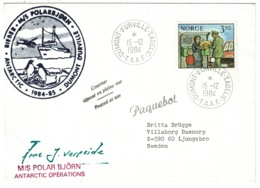 Ref 1281 - 1984 Antarctic Cover - M/S Polar Bjorn Paquebot Mark - Norway Stamp T.A.A.F Pmk - Norvège