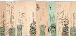 FRANCE..AFFRANCHISSEMENTS DE 2 TYPES BLANC 5c.... ...LOT DE 48 SUR  CPA.....VOIR SCAN......LOT 27 - 1900-29 Blanc