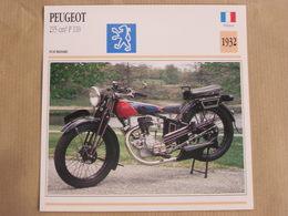 PEUGEOT 215 Cm3 P 110 France 1932  Moto Fiche Descriptive Motocyclette Motos Motorcycle Moto Motocyclette - Fiches Illustrées