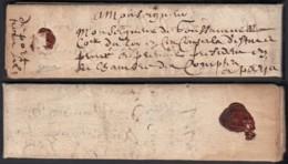 """France 1613 - Lettre Avec Courrier Consulaire Du Roi 28/12/1613 De Aix Vers Paris. Mention Taxe """"sol3"""" (7G34626) DC2623 - Postmark Collection (Covers)"""