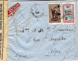 WWII -enveloppePAR AVION De Madagascar Affr.FRANCE LIBRE  N°258 Et N°255  20 F / 5 F  -censure Française - Madagascar (1889-1960)