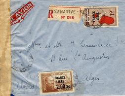 WWII -enveloppe PAR AVION De Madagascar Affr .FRANCE LIBRE  N° 264 + Ae 48 Censure Française - Madagascar (1889-1960)
