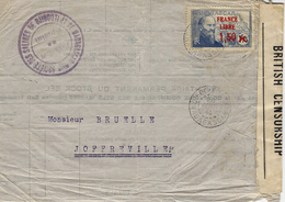 WWII -enveloppe  De Madagascar Affr .FRANCE LIBRE  N° 263 SEUL +  Censure Anglaise -courrier Local - Storia Postale