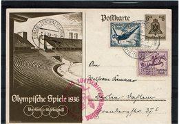 LMON3 - ALLEMAGNE CP  POSTE AERIENNE HINDENBURG 1/8/1936 - Luftpost