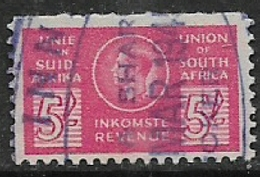 """South Africa,   GVIR, Revenue Stamp, 1943, Bantam 5/= """"ENGLISH ON THE LEFT"""" Variety, Used - South Africa (...-1961)"""