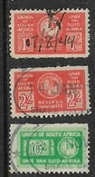 South Africa,   GVIR, Revenue Stamps, 1936, Bantams, 1/=, 2/=, 10/-, Used - South Africa (...-1961)