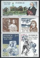 Sweden. Scott # 1673-77 MNH Booklet Pane Of 5. New Sweden. Joint Issue With Finland & USA 1988 - Joint Issues