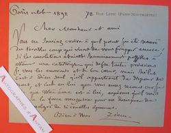 Félix ZIEM 1892 - Peintre école Barbizon - Né à BEAUNE Côte D'Or - Carte Lettre Autographe LAS - Autographes