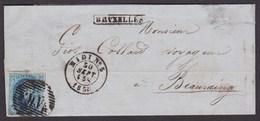 """Médaillon - N°11A Sur LAC Obl Ambulant """"M.V"""" çàd Midi N°5 30/9/58 + Griffe Encadrée Bruxelles Vers Beauraing - 1858-1862 Médaillons (9/12)"""