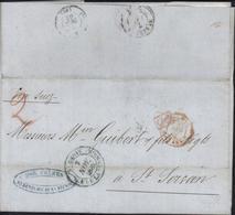 CAD Bleu St Denis Ile De La Réunion 7 Nov 1862 CAD ? Suez AMB E 5 Dec 62 Via Suez Manuscrit Taxe 2 Cachet Commercial Dor - Reunion Island (1852-1975)
