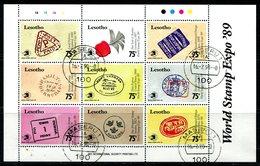 Lesotho 1989 World Stamp Expo, Washington Sheetlet Used (SG 924-932) - Lesotho (1966-...)