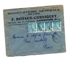 Lettre Cachet Landrecies Sur Mercure Entete Bimbeloterie  Bisiaux - Marcophilie (Lettres)