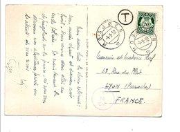 NORVEGE CARTE TAXEE DE OSJOEN POUR LA FRANCE 1952 - Norvège
