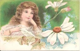Superbe Carte Fantaisie Gaufrée - Fillette Effeuillant Une Marguerite - Un Peu - Fantaisies
