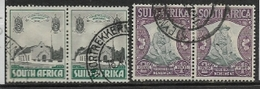 South Africa, 1933 -6, Voortrekker Monument, 1/2d, 2d, Pairs, Used - South Africa (...-1961)