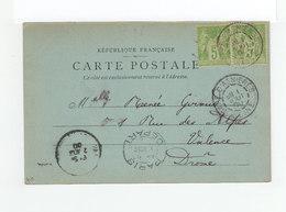 Sur CPA De Paris Paire De Sage 5 C. Verts Jaunes CAD Gare D'Asnières 1900. Cachet Paris Départ. (3243) - Postmark Collection (Covers)