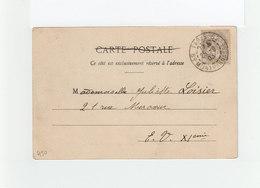 Sur CPA De Paris Type Blanc 1 C. Gris CAD Paris Montparnasse. (3244) - Marcophilie (Lettres)