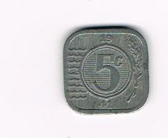&-  NEDERLAND 5 CENTS 1941 - 5 Cent