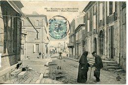 901. CPA 33 CARTE ENTIEREMENT DEDOUBLEE. ENVIRONS DE LIBOURNE. BRANNE. RUE PRINCIPALE 1907 - France