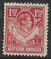 Northern Rhodesia, GVIR, 1938, 1 1/2d Carmine, MH * - Northern Rhodesia (...-1963)