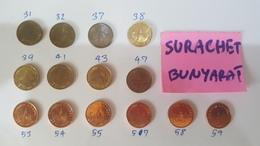Thailand Coin Circulation 25 Satang Different 14 Years UNC - Thaïlande