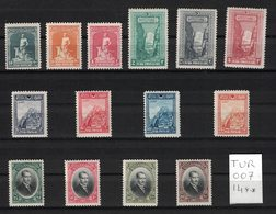Turquie - Turkey - Yvert 695-708 Neufs SANS Charnière - Scott#637-647 MNH - 1921-... République