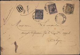 YT 12 15 16 CAD Thala Régence De Tunis 2 7 00 Bureau Rare Recommandé Pr Alger Affranchissement Tricolore 75c Oblit Rare - Tunisia (1888-1955)