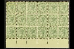 VICTORIA  1899-1901 3d Slate-green, SG 362, Never Hinged Mint Marginal BLOCK Of 18 (6x3), Darkish Gum But Very Pleasing  - Australie