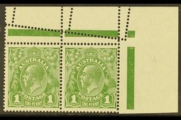 1926-30 MISPERFORATION ERROR  1d Sage Green KGV Head, Perf 14, SG 85, A Superb Mint Upper Right Horizontal Corner Pair S - Australie
