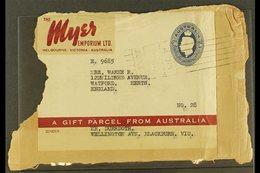 1946  5s10d Myer Emporium Food Parcel Label Addressed To England Tied To Piece By Melbourne Roller Datestamp, Vertical C - Australie