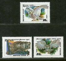 Russia 1990 Owl Birds Of Prey Wildlife Animal Fauna Sc 5871-73 MNH # 224 - Owls