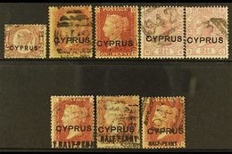 1880-81 GB OVERPRINTS  An Attractive Used Group With ½d Plate 15, 1d Plates 208 & 217, 2½d Plates 14 & 15, 1881 18mm ½d  - Chypre
