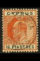 1902-04  12pi Chestnut And Black, SG 57, Very Fine Used With Neat Centrally Placed Cds Cancel. For More Images, Please V - Chypre
