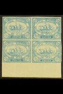 SUEZ CANAL COMPANY  1868 20c Blue, SG 3, Fine Mint Marginal Block Of 4 (Positions 99-100 / 111-112, Bearing Expertizing  - Égypte