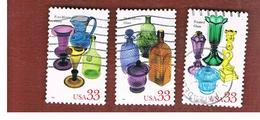 STATI UNITI (U.S.A.) - SG  3631.3633   - 1999  AMERICAN GLASS   - USED - Used Stamps