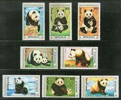 Mongolia 1990 Giant Panda Wildlife Animal Fauna Sc 1879-86 MNH # 1336 - Stamps