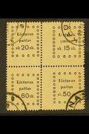 1919 SE-TENANT BLOCK.  1919 Third Kaunas Issue 20s+15s+60s+50s Se-tenant Block Of 4, Very Fine Used (mixed- Value Block) - Lituanie