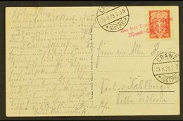 "1929 CRANZ - MEMEL SHIP LINE.  (29 Aug) Picture Postcard Addressed To Kahlberg, Bearing 15c Stamp Tied By Rare ""Aus Dem  - Lituanie"