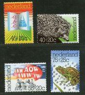 Netherlands 1976 Hedgehog Green Frog Wildlife Animal Sc B517-20 MNH # 2045 - Frogs