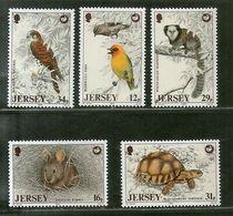 Jersey 1988 Eagal Tortoise Birds Reptiles Wildlife Animals Sc 456-60 MNH # 3605 - Birds